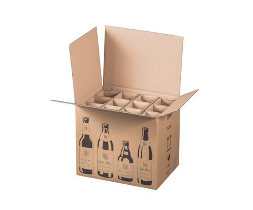 Karton f. 12 Bierflaschen, 2,444 EUR/St., 1 Pal. 90 Versandkartons