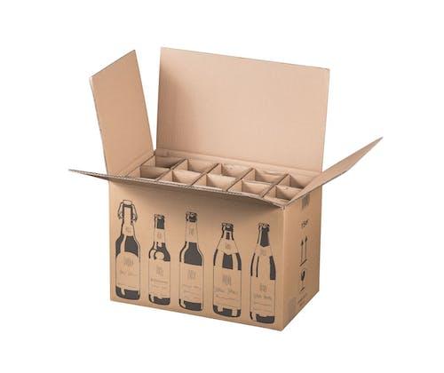 Karton f. 15 Bierflaschen, 2,333 EUR/St., 2 Pal. 300 Versandkartons